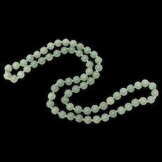 "Heavy 32"" Green Jade Bead Necklace"