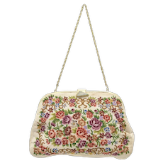 Victorian Inspired Petit Point Tapestry Floral Rose Purse Handbag w/ Genuine Carved Green Jadeite Clasp