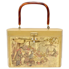 "Anton Pieck Signed ""The Flower Stall"" Decoupage Rectangular Wood Box Purse"