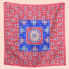 """Signed """"Symphony"""" 17"""" x 17"""" Blue & Red Nautical Ships & Anchors Silk Neck Scarf"""