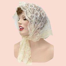 Delicate Cream White Lace Mantilla Head Scarf