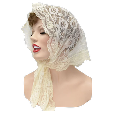 Delicate Cream White Lace Mantilla Head Scarf