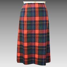 Pendleton Long Red, Green & Blue Tartan Plaid Wool Skirt w/ Split