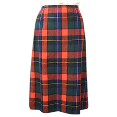 Pendleton Long Red, Green & Blue Tartan Plaid Wool Skirt w/ Split
