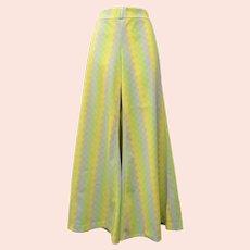 c1960s Colorful Lime Green & Yellow Argyle Diamond Pattern Disco Wide Leg Pants