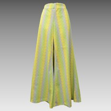 c1960s Colorful Lime Green & Yellow Argyle Diamond Pattern Disco Wide Leg Pants