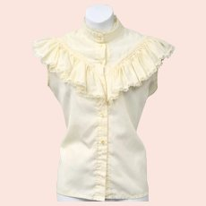 Frilly Button-up Sleeveless Peasant Cream Colored Blouse