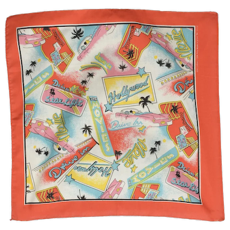 """21.5"""" x 22.5"""" ~ 50s Hollywood Drive-in Movie Theme Scarf"""