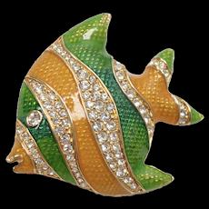 Swarovski Signed Crystal Green & Yellow Enamel Tropical Angel Fish Pin/Brooch