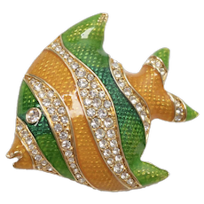 Swarovski Signed Crystal Green & Yellow Enamel Tropical Angel Fish Pin/Brooch