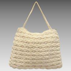 c1940s Cream White Crochet Fabric Handbag Purse
