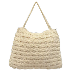 c1940s Cream White Crochet Fabric Handbag Purse