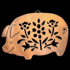 Copper Clad Hog/Pig Hangable Footed Trivet w/ Floral Cutouts