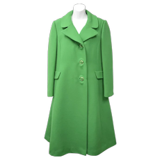 "Signed ""Rubel Originals Creators of Rich Mark""Heavy Vibrant Green 100% Wool Coat"