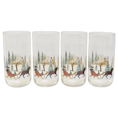 Rare Tiffany Collection Styled by Libbey Set of 4 Textured Winter Scene Tumbler Glasses in Original Box