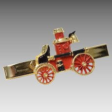 Signed Hook-Fast Red & Black Enamel Steam Powered Fire Engine Tie Clip