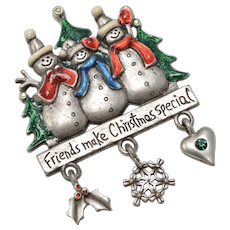 """AJMC Signed """"Friends Make Christmas Special"""" Festive Enamel Snowmen w/ Dangles Pewter Brooch/Pin"""