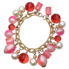 Crown Trifari Signed Luscious Pink Lucite Bauble Bead & Faux White Pearl Cha Cha Bracelet