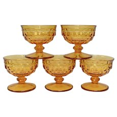 Colony Set of 5 Amber Glass Cubist Dessert Sherbet Dishes