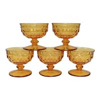 Set of 5 Colony Whitehall Cubist Amber Glass Champagne / Tall Sherbet Dishes
