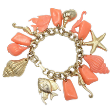 Gold-tone & Coral Orange Sea Themed Cha Cha Charm Bracelet