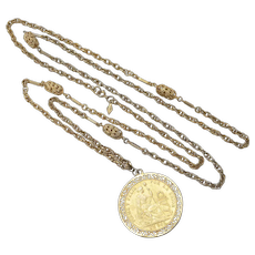 "Long 53"" ""Sarah Cov"" Signed Gold-tone Peruvian Coin Pendant Necklace"