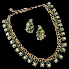 c1960s Trifari Sparkly Emerald Green Aurora Borealis Rhinestone Choker Necklace & Climber Earring Set