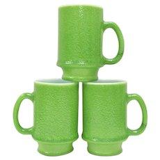Set of 3 Hazel Atlas Green Pebble Or Orange Peel Texture 10oz Milk Glass Mugs