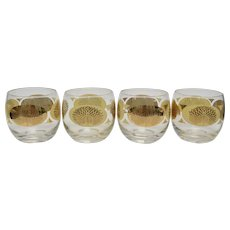 Set of 4 Mid-Century Modern PEACOCK Gold Stencil Roly Poly Cocktail Glasses