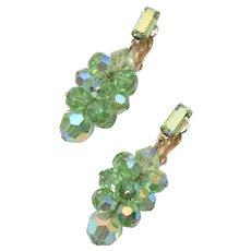 c1960s Lewis Segal California Emerald Green Aurora Borealis Clip Earrings