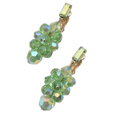 c1960s Lewis Segal California Emerald Green Aurora Borealis Clip Earrings