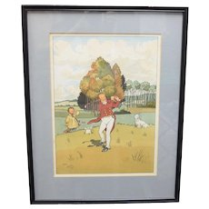 Original Harry Eliott (1882-1959) Playing Golf Hand-colored Lithograph Art Print in Black Frame