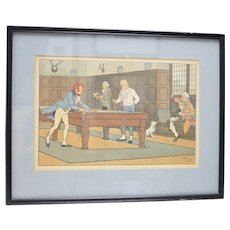 Original Harry Eliott (1882-1959) Shooting Pool / Billiards Color Lithograph Art Print in Black Frame