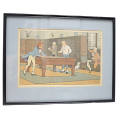 Original Harry Eliott (1882-1959) Shooting Pool/Billiards Color Lithograph Art Print in Black Frame
