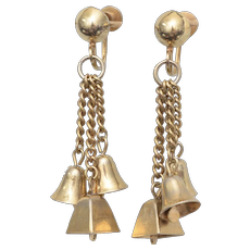 Trio of Ringing Goldtone Bells Screwback Dangle Earrings