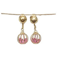 Caged Pink Rhinestone Ball Dangle Clip Earrings