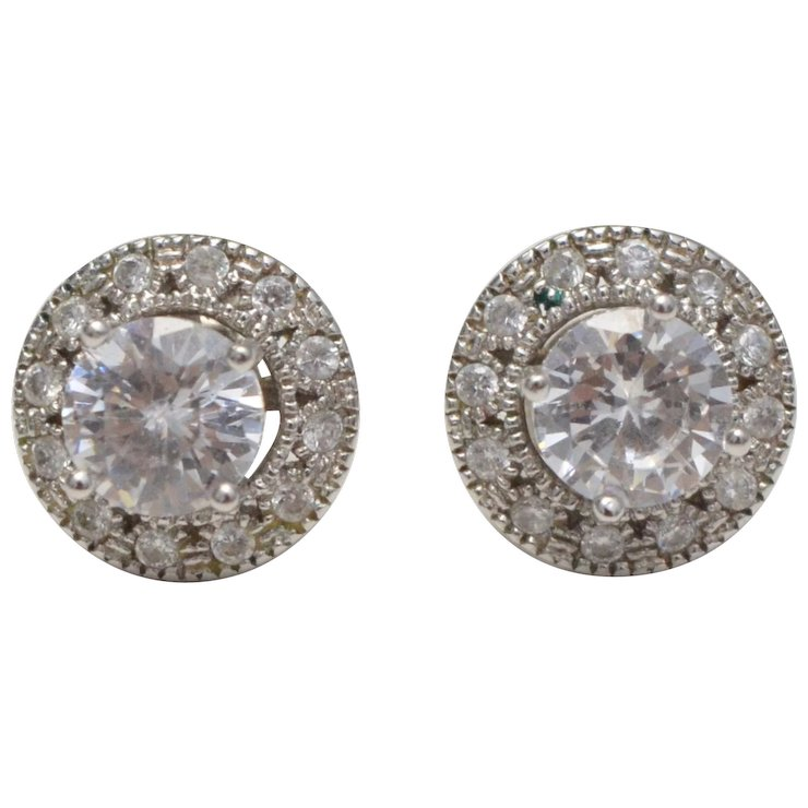 Sterling Silver Cz Stud Earrings W Halo Round Earring Jackets