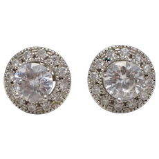 Sterling Silver CZ Stud Earrings w/ Halo Round CZ Earring Jackets