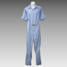 c1970s Para-Suit Sky Blue Belted Jumpsuit - Size 42 Regular