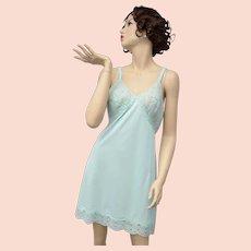 Gossard Artemis Baby Blue Nylon & Lace Full Slip - Size 38