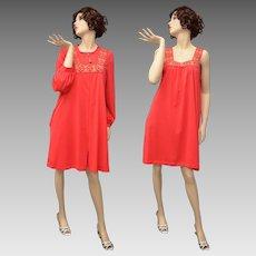 Gossard Artemis Red Nylon Night Gown w/ Long Sleeve Robe - Size Large