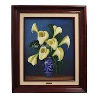 Signed Artist Jose Antonio Ramirez Monroy Calla Lilies in Blue & White Vase Oil on Canvas Painting