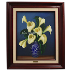 """Signed """"Ramirez Monroy"""" Calla Lilies in Blue Vase Oil on Canvas Wood Framed Painting"""