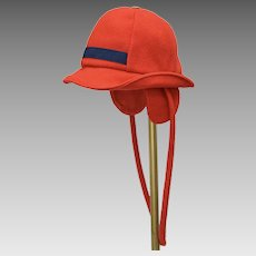 c1950s Red Wool Children's Winter Hat or Cap w/ Ear Flaps & Strap