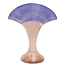 c1920s Art Deco Kralik Bohemian Cobalt Blue Reeded Pink Art Glass Fan Vase