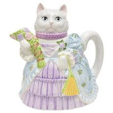 Lefton Signed Kitty Cat in Victorian Style Dress Painted Ceramic Teapot or Lidded Pitcher