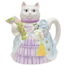Lefton Signed Kitty Cat in Victorian Style Dress Painted Ceramic Pitcher