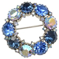 Signed Weiss Large Blue Aurora Borealis Rhinestone Circle Brooch/Pin