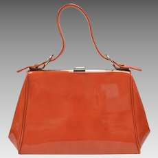 c1960s Dover Signed Tomato Red Patent Leather Handbag Purse