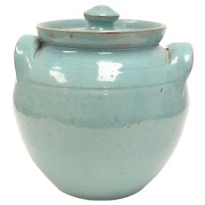 Signed Neolia Cole Sanford, North Carolina Pottery Turquoise Green Art Pottery w/ Lid